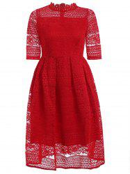 Stunning Stand Collar High Waist Lace Dress -