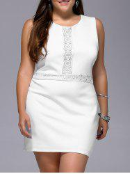 Stylish Plus Size Sleeveless White Lace Spliced Women's Dress -