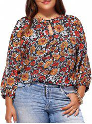 Chic Plus Size Keyhole Neck Floral Print Women's Blouse -