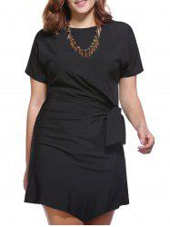 Chic Plus Size Solid Color Bowknot Embellished Women's Dress -