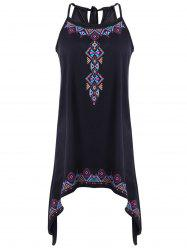 Tie Print Asymmetrical Cami Dress - BLACK XL