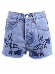 Vintage Style High Waist Raw Edged Floral Embellished Denim Shorts For Women - LIGHT BLUE 3XL