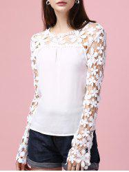 Sweet Long Sleeve Lace Splicing Hollow Out Blouse
