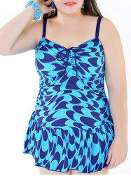 Stylish Plus Size Printed Ruffled One-Piece Swimsuit For Women