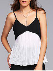 Pleated Two Tone Cami Tank Top - WHITE AND BLACK