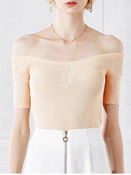 Stylish Off The Shoulder Short Sleeve Knitwear For Women -
