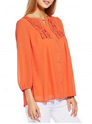 Button Ruffle Chiffon Blouse