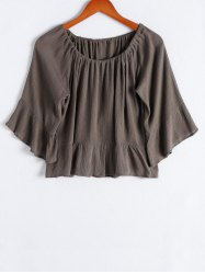 Stylish Flare Sleeve Off The Shoulder Flounce Ruffles Women's Blouse