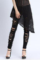 Black Ripped Narrow Feet Jeans -