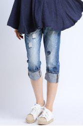 Bleach Wash Ripped Capri Jeans -