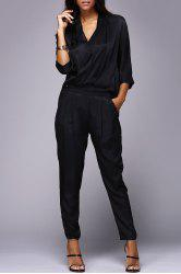 V Neck Wrap Front Jumpsuit -