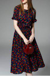 Floral Print Ruched Dress -