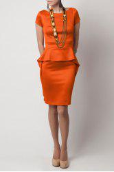 Boat Neck Solid Color Peplum Dress -
