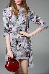 Asymmetric Butterfly Print Dress -