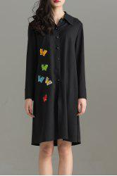 Butterfly Pattern Shirt Dress -
