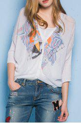 Abstract Print V Neck Batwing Sleeve Cardigan -