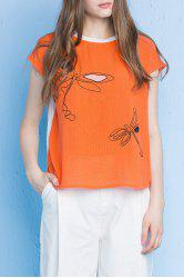Dragonfly Print Cotton Tee -