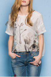 Round Neck High Low Hem Rabbit Print T-Shirt -