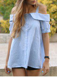 Sweet Off-The-Shoulder Plaid Short Sleeves Women's Blouse