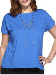 Stylish Slimming Round Neck Tulip Plus Size Top For Women -