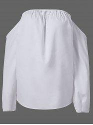 Fashionable Boat Neck Long Sleeve White Blouse For Women