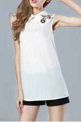 Shirt Collar Sleeveless Beaded Blouse