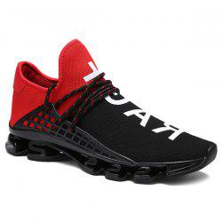 Trendy Letter Print and Mesh Design Athletic Shoes For Men -