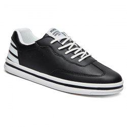 Sports Style Stripe and PU Leather Design Casual Shoes For Men -