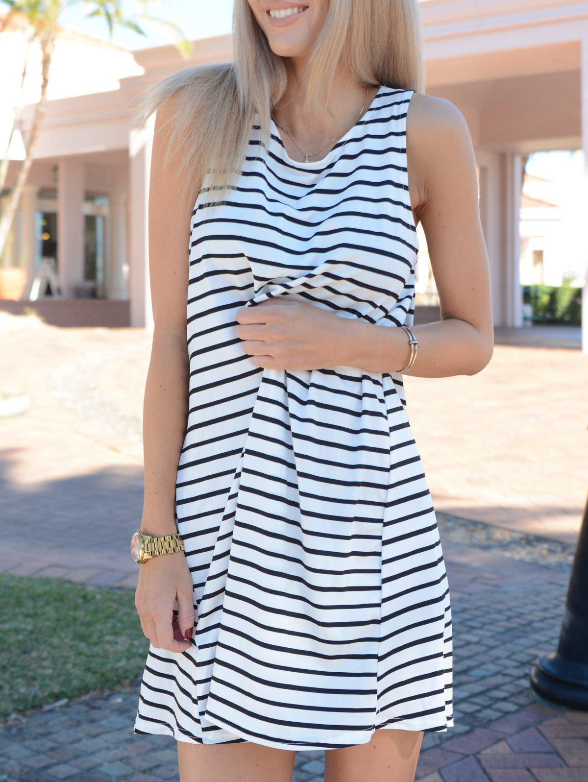 Tunic White Black Sleeveless Striped DressWOMEN<br><br>Size: L; Color: WHITE AND BLACK; Style: Casual; Material: Cotton Blend; Silhouette: Straight; Dresses Length: Mini; Neckline: Round Collar; Sleeve Length: Sleeveless; Pattern Type: Striped; With Belt: No; Season: Summer; Weight: 0.350kg; Package Contents: 1 x Dress;