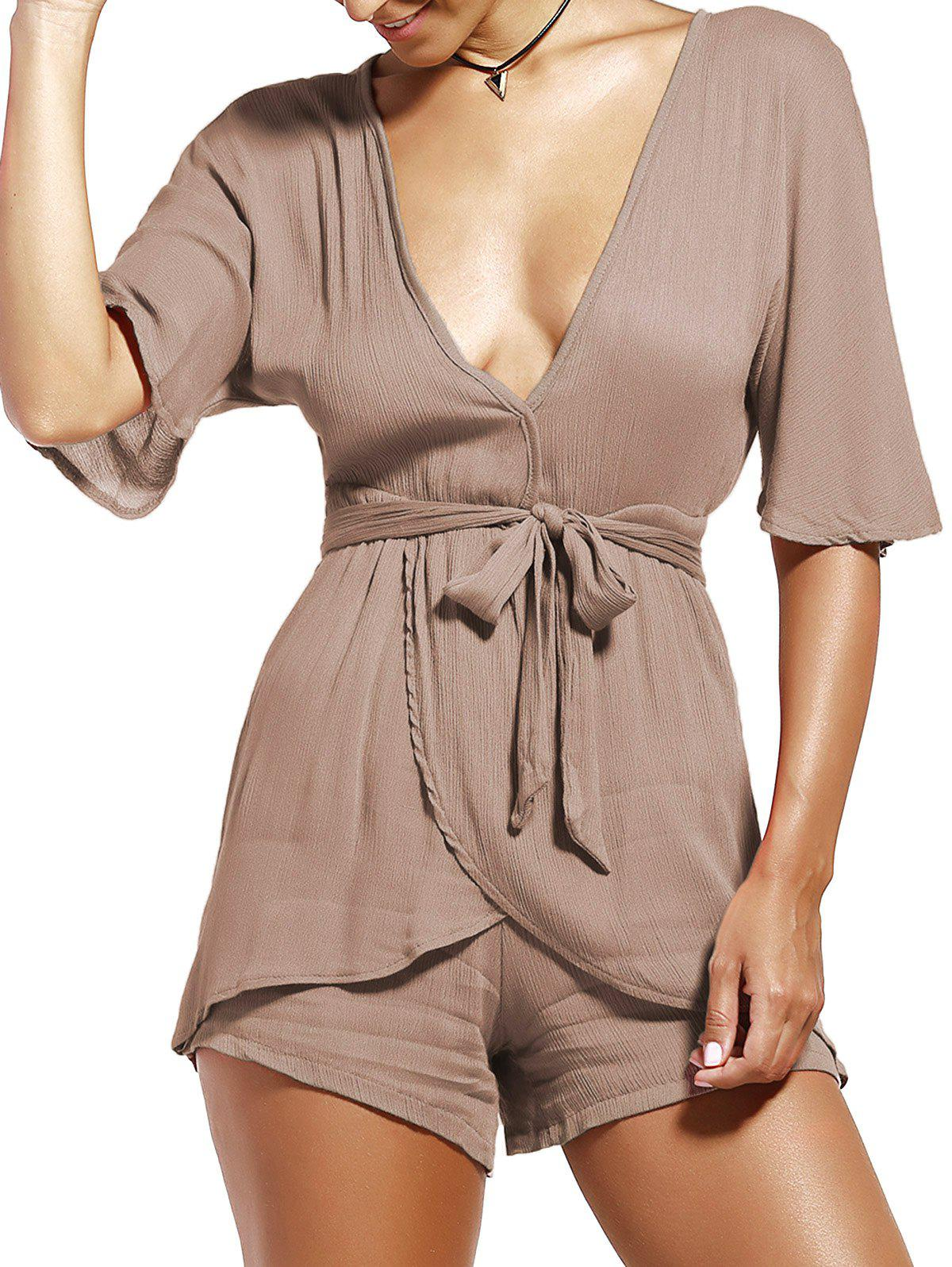 Affordable Plunging Neckline Wrap Romper