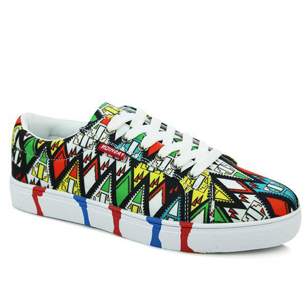 Latest Stylish Geometric Print and Color Block Design Casual Shoes For Men