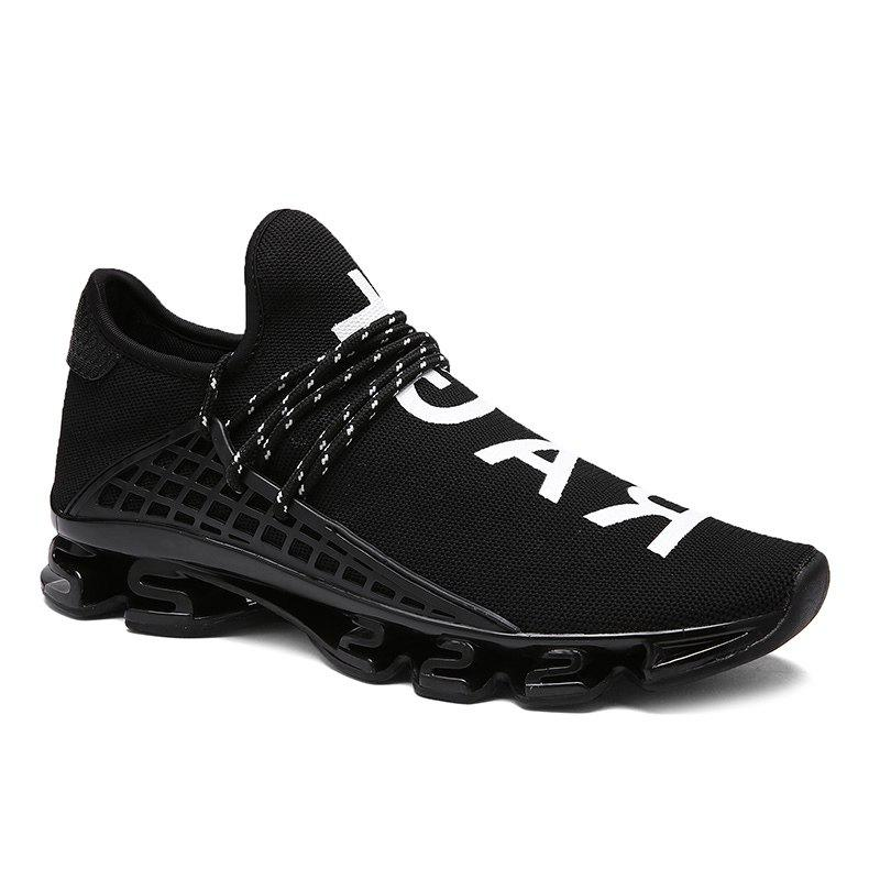 Fancy Trendy Letter Print and Mesh Design Athletic Shoes For Men