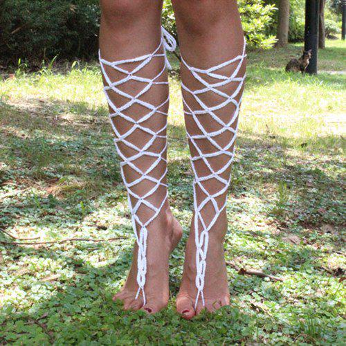 Shop Pair of Stylish Hollowed Grid Lace Up Anklets For Women