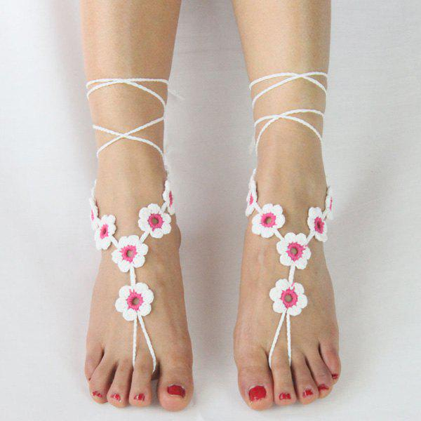 Store Pair of Graceful Embellished Floral Anklets For Women