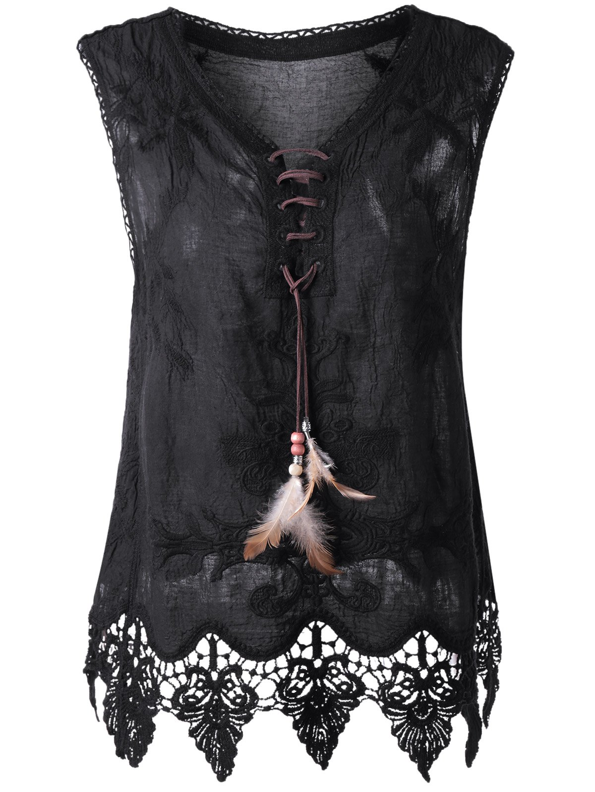 Outfits Bohemian Lace-Up Crochet Sleeveless Top For Women