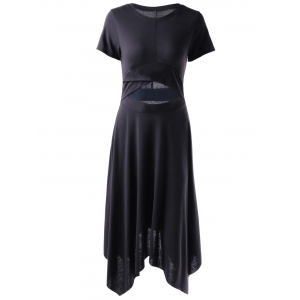 Fashionable Black Tight Hem Irregular Dress For Women