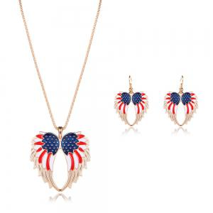 American Flag Wings Necklace and Earrings