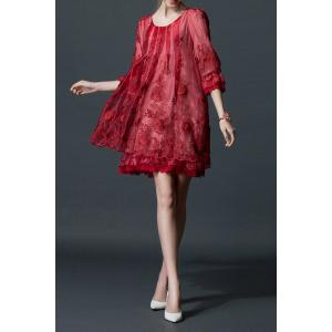 Embroidered Layered Organza Dress -