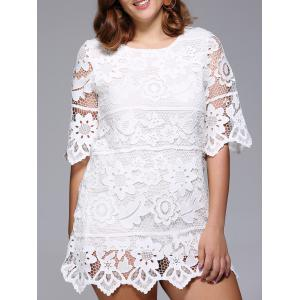 Lace Floral Plus Size Dress - WHITE ONE SIZE(FIT SIZE L TO 3XL)