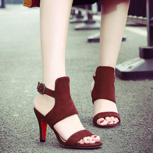 Trendy Flock and Solid Color Design Sandals For Women
