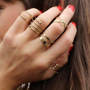 6PCS of Chic Women's Round Solid Colour Rings - GOLDEN ONE-SIZE