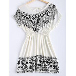Fashionable Printing V-Neck Lace Up Dress For Women -