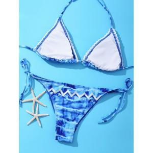 Attractive Halter Geometric Print Tie-Back Bikini Set For Women -