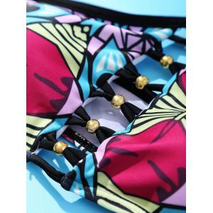Alluring High Neck Beaded Tribal Print Criss-Cross Bikini Set For Women -