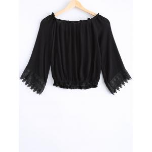 Fashionable Lace Openwork Tie Long Sleeves Blouse For Women -