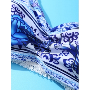Chic Spaghetti Strap Floral Print Crochet-Trim Bikini Set For Women - WATER BLUE M