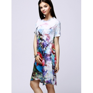 Elegant Jewel Neck Floral Print Short Sleeve Dress For Women - COLORMIX 2XL
