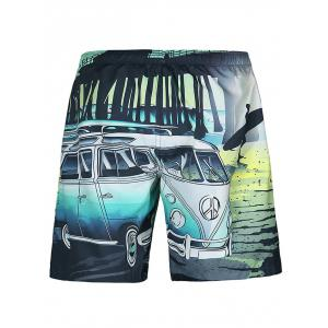 Casual Car Printed Straight Leg Lace Up Boardshorts -