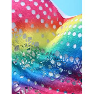Chic Halter Cut Out Rainbow One-Piece Swimwear For Women - COLORFUL 3XL