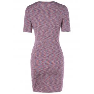 Fashionable Short Sleeves Scoop Neck Slim Dress For Women - COLORMIX XL